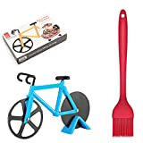 Zhenpony Bicycle Pizza Cutter Wheels, Sharp Bike Pizza Slicer with Stand and BBQ Brush, Dual Stainless Steel Cutting Wheels, Funny Kitchen Gadget for Pizza Lovers