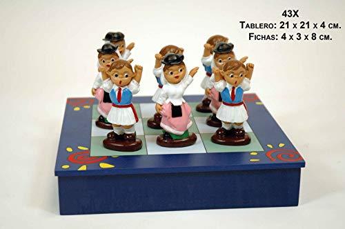 CAPRILO Juego Decorativo de Madera Tres en Raya Islas Canarias Figuras Resina. Adornos y Esculturas. Juegos y Juguetes. Regalos Originales.