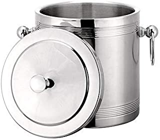 Ice Bucket with Lid, Tongs, Insulated Double Wall Design, Premium Quality Brushed Stainless Steel, Handles, Small, Great as a Gift, Perfect as a Champagne Chiller, Wine Chiller, Beer Bucket or Ice Box
