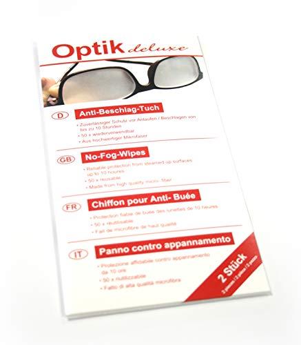 Optik- Deluxe Antibeschlagtuch für Brillen im 2er Set - 50x wiederverwendbar - funktioniert bei jeder Brille, Autoscheibe & Motorrad-Visier - zuverlässiges Brillentuch gegen beschlagene Gläser