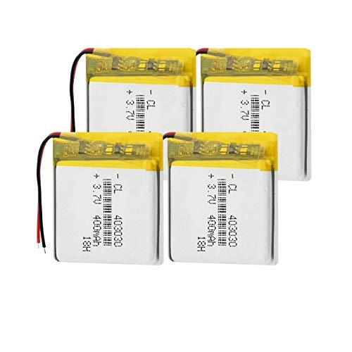 RFGTYH Batería de Iones de Litio de 3,7 v Recargable 403030 baterías de polímero de Iones de Litio de 400 mAh Banco de energía Detector de Alarma reemplazo 4pieces