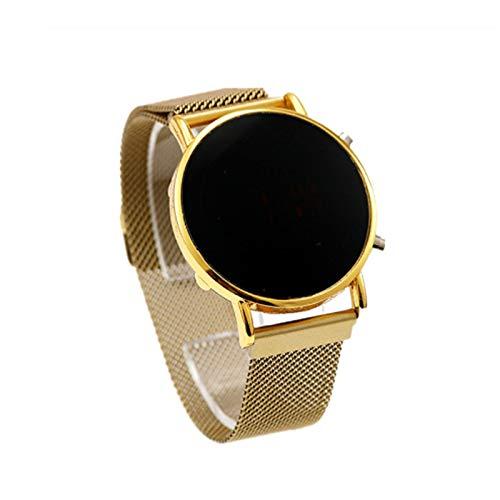 ZHWDD Smart Ladies Watch, Pantalla táctil Redonda Multifuncional, Reloj electrónico, medir la presión Arterial, Ritmo cardíaco, Reloj de la Correa de Malla magnética de la Moda