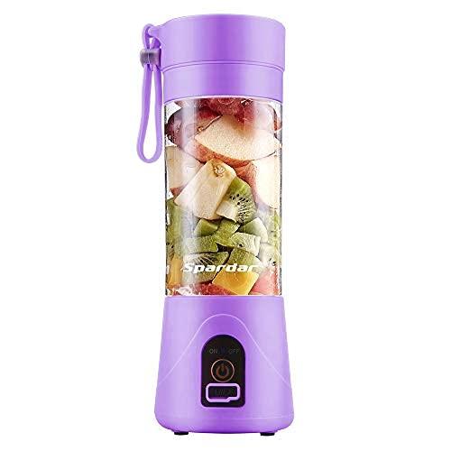 Licuadora Portátil , Eléctrico USB Juicer Mini Licuadora Taza de Jugo Máquina de Exprimidor de Botellas de Agua de 380 ml Con 4 Cuchillas, Smoothies, Batería Recargable de 1000 mAh (Purple)