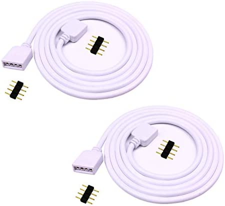 LitaElek 2pcs 1m 3.3ft RGB Extension Cable Cord 4 Pin Flex LED Tape RGB LED Ribbon LED Rope Light Connector Wire for RGB 5050 3528 2835 Flexible LED Strip Light w/ 4X Male to Male 4Pin Adapter Plugs