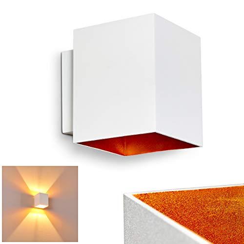Wandlamp Laforsen van metaal in wit/goud, moderne wandlamp met lichteffect, 1 x G9 fitting, max. 40 Watt, kubus/interieur wandlamp met op & neer effect, geschikt voor LED-verlichting