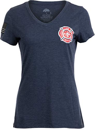 Firefighter Maltese Cross | Fire Fighter Rescue Courage Honor Women Top T-Shirt-(Vneck,M) Navy Blue