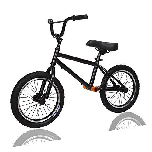 JLXJ Bicicleta Sin Pedales Grande Niños, Niño Bicicleta de Equilibrio con Rueda de Aire de 16 Pulgadas, Asiento Ajustable y Manillar, Sin Pedales Negro Marco de Acero Ligero Bicicleta, Carga: 80kg.