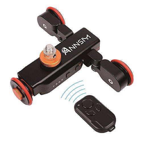 annsm Pro 3-Wheels Wirelesss cámara de vídeo Auto Pista de Dolly para cámaras réflex digitales videocámaras iPhone Gopro o teléfonos inteligentes con 3velocidades marchas movimientos controlado por control remoto, color negro