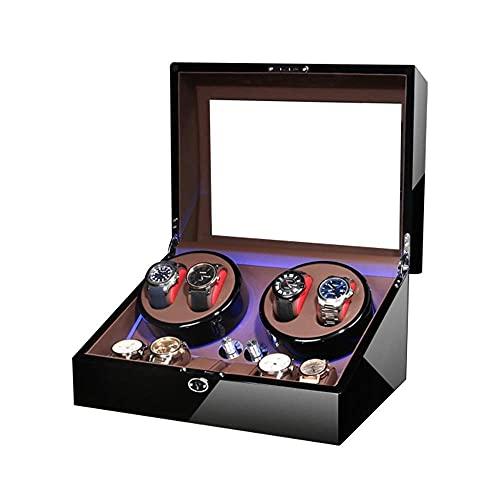Caja enrolladora de Reloj automática para 4 Relojes + 6 de Almacenamiento Luz LED Azul Acabado de Pintura de Piano Motor silencioso Adaptador de CA y Alimentado por bater