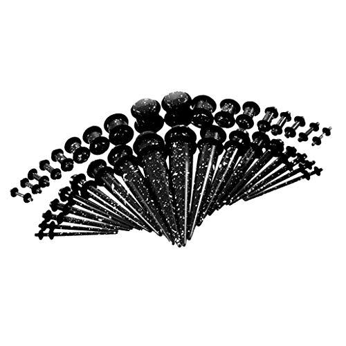 F Fityle 36 Pedazos Dilatación de Orejas Expansor de Túnel de Oídos Acrílico para Hombre Mujer 14G - 00G - Negro