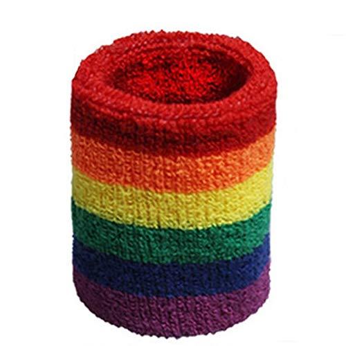 Pulsera de ejercicio Pulseras deportivas - Brazales cálidos transpirables Color de arco iris de algodón suave Wrap Wrap Hand Badminton Correr Fitness Menores Mujeres Muñequera Gimnasia de tenis adecua