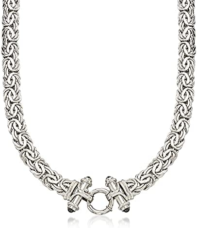 Ross-Simons Sterling Silver Byzantine Necklace With Black Onyx