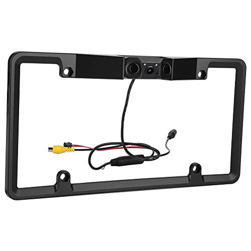 Vehicle License Plate Parking Sensor Backup Camera, 170° View Angle Universal IP67 Waterproof Car License Plate Frame Camera, Vehicle Universal Reversing Assist Security