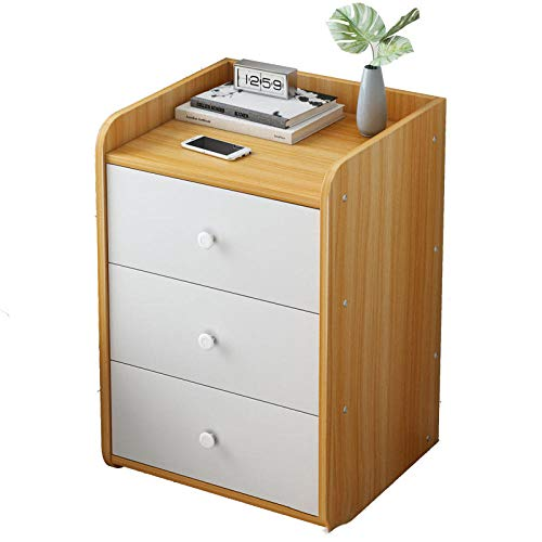 GLYYR Bedside Table Solid Wood With 1/2/3 drawers Removable Small Coffee Table Solid Wood Bedroom Office Coffee Bedroom Living Room Hallway Bathroom Furniture Corner Side Table-3_drawer