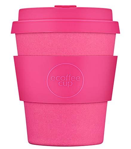 Ecoffee Cup Kaffeebecher, wiederverwendbar und umweltfreundlich, Pink mit rosa Silikon, 227 ml