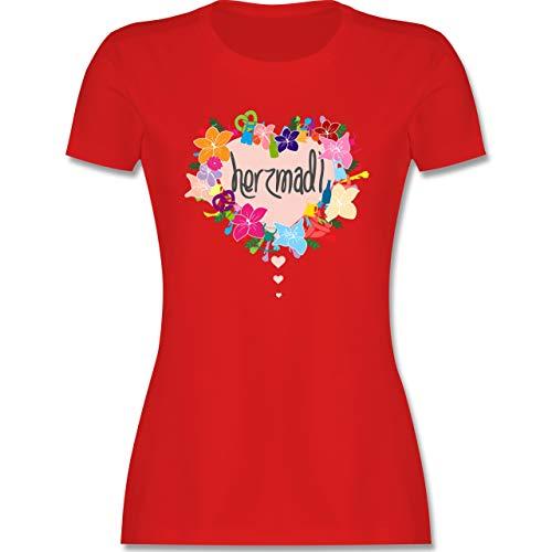Oktoberfest Damen - Herzmadl - XXL - Rot - Dirndl Oberteile Damen - L191 - Tailliertes Tshirt für Damen und Frauen T-Shirt