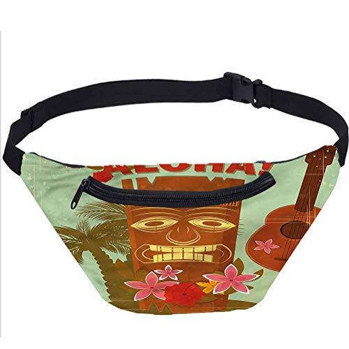 Bolsa de Fanny Hawaii Vintage Pack de Bolsas,Máscara tradicional Running Travel Sports Bags
