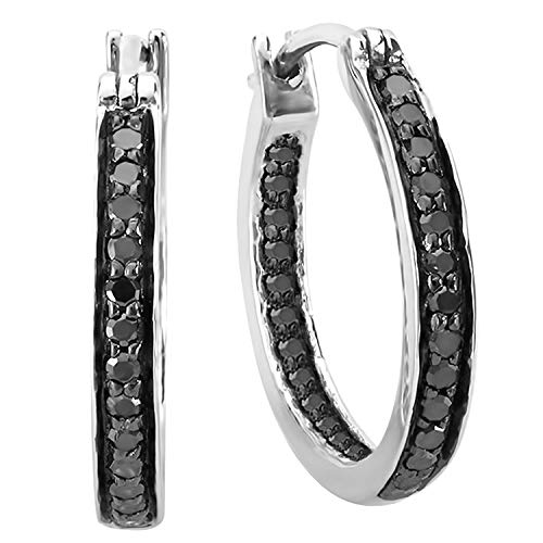 Dazzlingrock Collection 0.38 Carat (ctw) Round Black Diamond Fine In and Out Hoop Earrings 3/8 CT, Sterling Silver