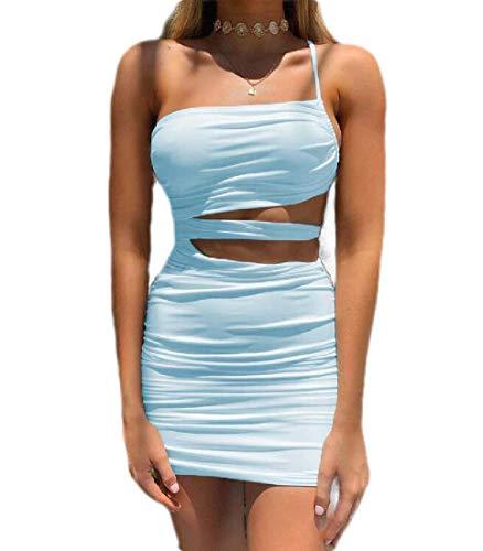 MU2M Women Ruched Cutout Bodycon One-Shoulder Sexy Spaghetti Strap Mini Dress Light Blue US XS