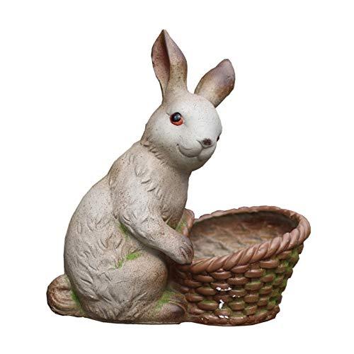 DENGZH Maceta de jardín Ornamentos para el hogar Fase de macetas Animal al Aire Libre Escultura Lindo Conejo Flor Pote Césped Pasillo Aisle Decoración para jardín Balcón Patio Terraza (Color : A)