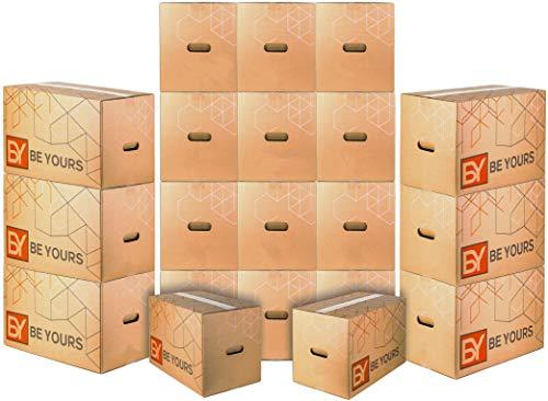 BY BE YOURS Pack 20 Cajas Cartón Mudanza Grandes con asas - 50x30x30 cm en Cartón Doble - Cajas Mudanza Ultra Resistentes - Fabricadas en España