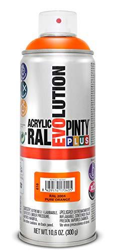Pintura spray Acrílica Brillo PINTYPLUS EVOLUTION 520cc Pure orange Ral 2004, Estándar