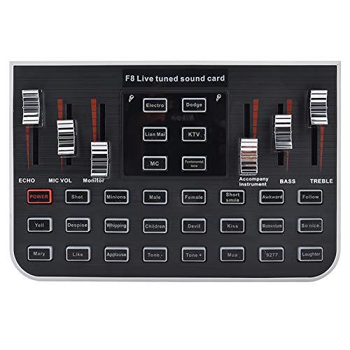 Consola de mezcla externa Tarjeta de sonido Consola de mezcla Mezclador de audio digital Tarjeta de sonido en vivo portátil Teléfono móvil Transmisión en vivo Karaoke Cambiador de voz Cable de acompañ