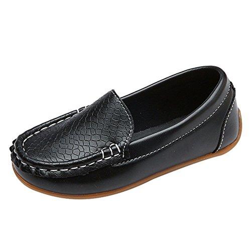 WEXCV Kinder Kind Jungen Mädchen Solide Leder Sport Lazy Sneaker Casual Bootsschuhe (EU:31, Schwarz)