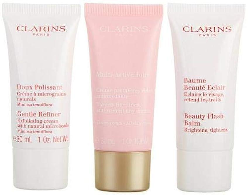 正しく女優損失クラランス Multi-Active 30+ Anti-Ageing Skincare Set: Gentle Refiner 30ml + Multi-Active Day Cream 30ml + Beauty Flash Balm 30ml 3pcs並行輸入品