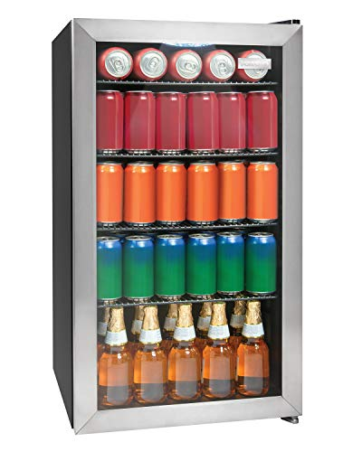Igloo IBC35SS 135-Can Capacity Beverage Refrigerator & Cooler For Soda, Beer, Wine and Water LED-Lighted Double-Pane Glass Door, 3.5 Cu. Ft, Stainless Steel, Cubic Foot