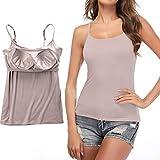 STARBILD Damen BH-Hemd Unterhemd mit unsichtbarer gepolsterter BH Bügelloser und Verstellbaren Trägern Komfortable Unterhemd, Rosa M