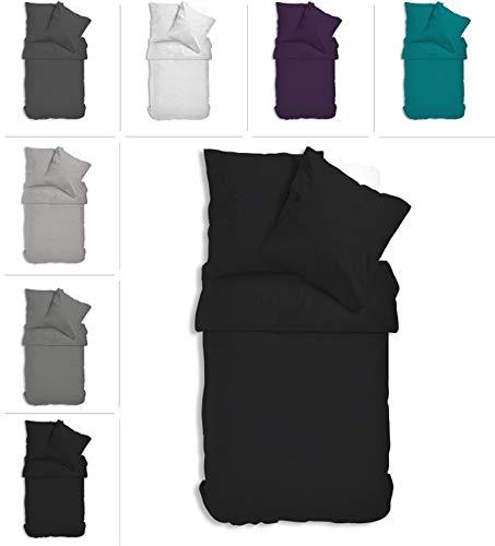 one-home Uni Bettwäsche Einfarbig Mikrofaser Garnituren Bettbezüge Premium Reißverschluss (schwarz, 4 teilig 135x200 cm)