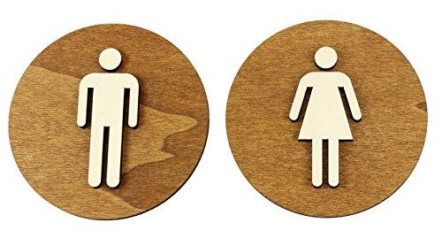 WC Cartel marrón color nogal Madera de WC Cartel para puerta cartel Mujer Hombre, madera, Damen+Herren, Ø 18cm