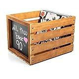 Chalkboard Vinyl Record Storage Crate (Vintage)...