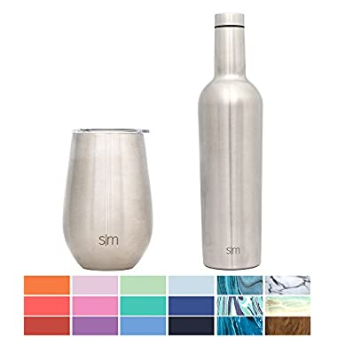 Simple Modern Spirit 12oz Wine Tumbler Wine Tumbler - Vacuum Insulated Hydro Double Wall Flask - 18/8 Stainless Steel Travel Mug - Simple Stainless