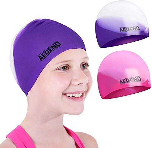 aegend 2er-Pack Badekappe (für 2-12 Jahre), wasserdichte Silikon-Badekappe für Kinder Jugendliche Jungen und Mädchen, Bequeme Passform für langes und kurzes Haar, 7 Farben