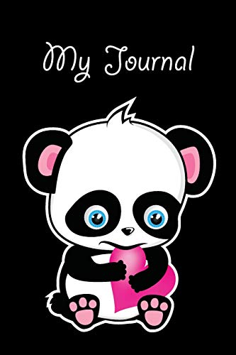 My Journal: Cute Blue Eyed Panda Chewing On Pink Heart (Panda Pink Heart Series)