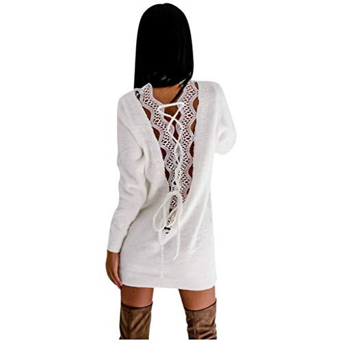 Sannysis Pulloverkleid Damen Rückenfrei Kleider Elegant Strickkleid Langarm Tunika Kleid Minikleid Sweatkleid Einfarbig Pullover Casual Lose Herbst Feinstrickkleid (XL, Weiß)