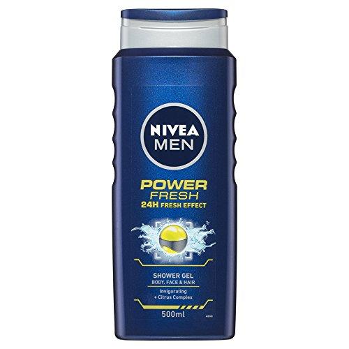 NIVEA MEN Power Fresh Shower Gel (500ml), Invigorating Moisturising Body Wash, All-in-1 Shower Gel for Men, Energising Nivea MEN Shower Gel