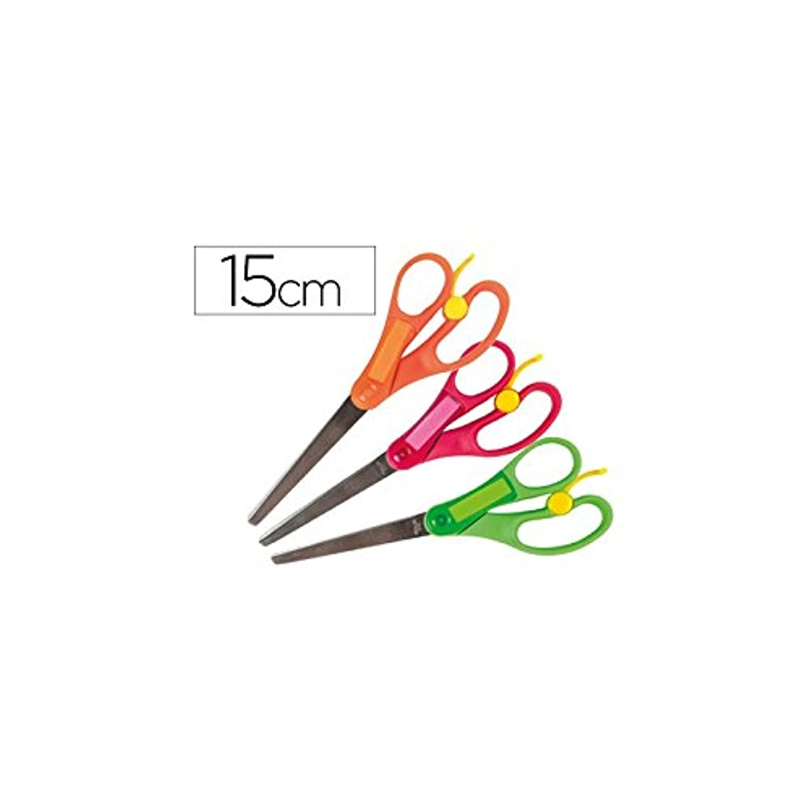 liderpapel 74842?x 5-8?Years Blades Scissors Stainless Steel Curved Tip Anti-Coupe Length 15?cm Assorted Colours