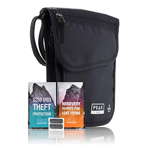 RFID Neck Wallet - The Original Travel Pouch with Adjustable Crossbody Strap + Theft Protection and Lost & Found Service (BLACK)