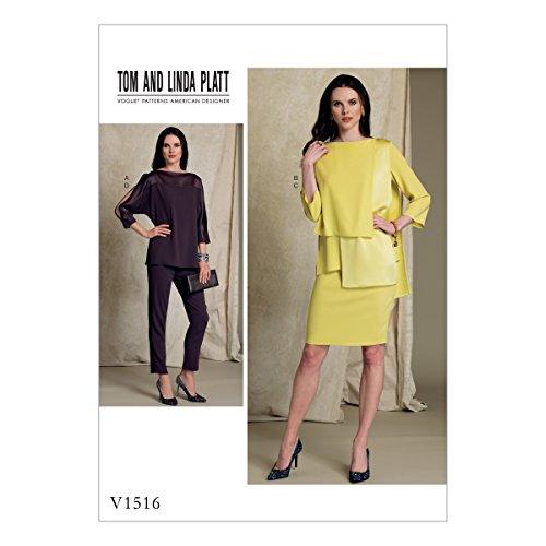 Vogue Mustern 1516E5Misses Top, Rock und Hose, Tissue, mehrfarbig, Größen 14–22