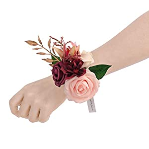 Silk Flower Arrangements Ling's moment Marsala & Blush Artificial Flowers Bridesmaid Wrist Corsage Bracelet, Set of 6, for French Rustic Vintage Wedding, Bridal Shower Party, Wedding Ceremony Anniversary, Corsage Ribbon Prom