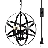 Lika 4-Light Plug in Chandeliers 15.7' Farmhouse Rustic Industrial Pendant Hanging Lights with Metal Shade Black Chandelier for Dining Room, Kitchen, Foyer