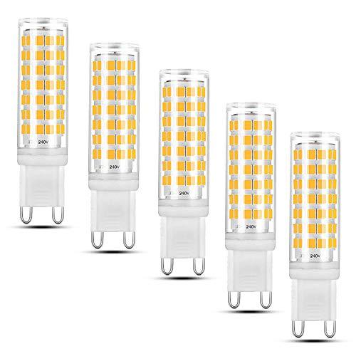 Luxvista LED G9 Dimmerabile Lampadina 6W 550lm Bianco caldo 2700K No Flicker No Strobe Lampadina alogena 50W Sostituzione AC 240 V Lampadine Super Luminosità G9 (5 pezzi)