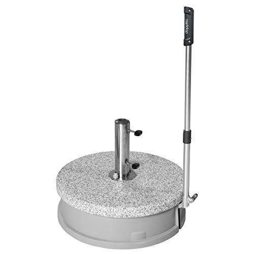 Doppler Rollsockel Easy Move ca. 30 kg - Granitsockel - Für Sonnenschirme bis 250 cm - Mit 4 Rollen und Zugstange - Für eine einfache Handhabung