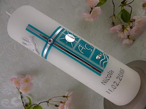 Taufkerze Kreuz türkis silber Wachsverzierung Taufkerzen Junge Mädchen 250/70 mm personalisiert