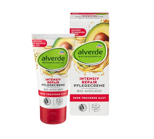 alverde Intensiv Repair Tagescreme | Naturkosmetik | Versorgt die Haut nachhaltig mit Feuchtigkeit | |Fr sehr trockene Haut | 50 ml