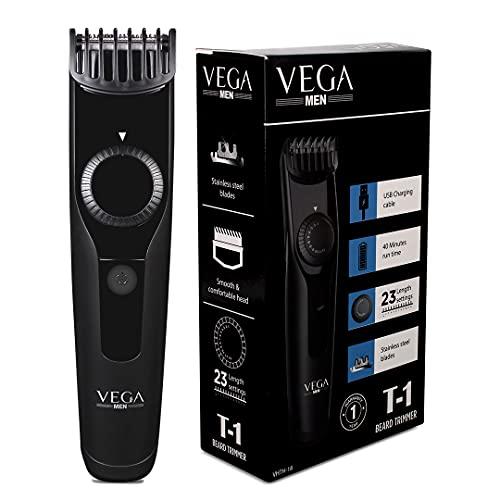 VEGA Men T1 Beard Trimmer for Men with 40 mins Run Time, USB Charging & 23 Length Settings, (VHTH-18)
