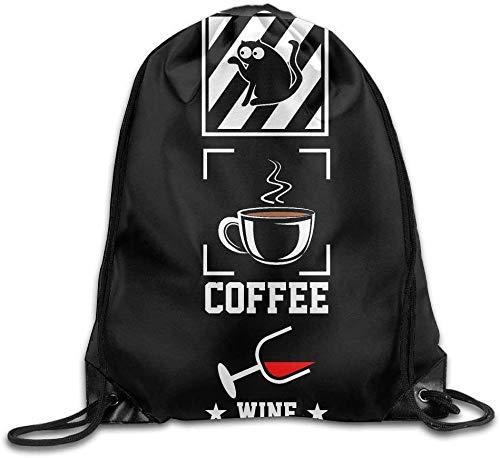 NA Leuke Trekkoord Rugzak Leuke Clever Koffie Katten Cocktails-Essentials Van Het Leven Ontwerp Print Trekkoord Rugzak Rugzak Schoudertassen Gym Bag